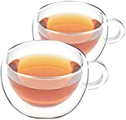 VAHDAM - Double Walled Insulated Cup (2 Pieces) Clear Glass Tea Cups Coffee Mugs- 200 ml Capacity, Durable &am