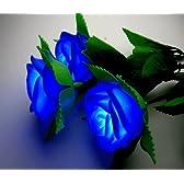 ムード満点 ! 光るバラ LED 薔薇の花束 3本セット 【青】