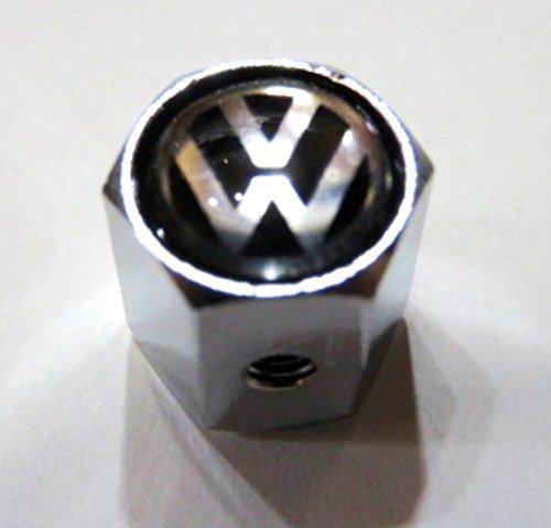 VOLKSWAGEN タイヤ バルブキャップ 4個 盗難防止機構付 クロームボディ 黒ベース TB VW ワーゲン フォルクスワーゲン