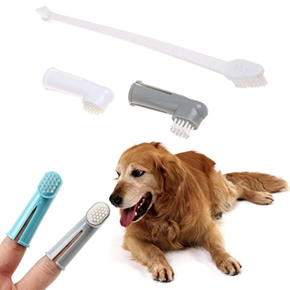 ライフルあごひげ乳剤Legendog ペットの歯ブラシ 犬用歯ブラシ 指歯 ブラシ 歯磨き ペット歯ケア用品 カラフル 3ピースセット(合計9個)