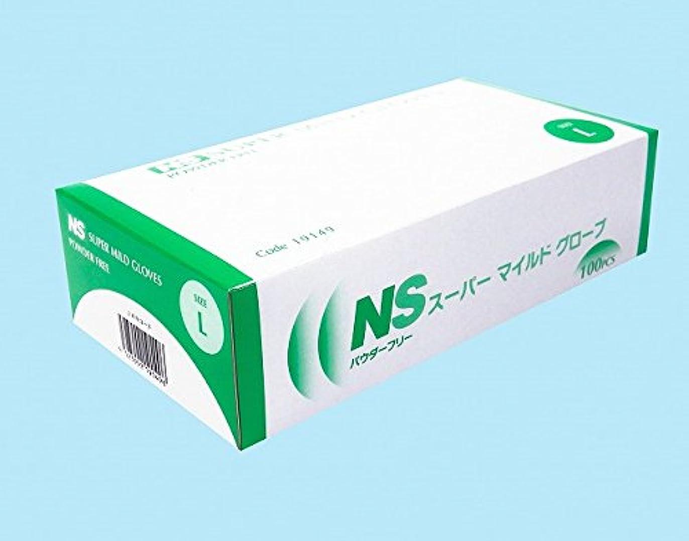 目の前の疲労切り下げ【日昭産業】NS スーパーマイルド プラスチック手袋 パウダーフリー L 100枚入り