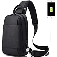 Wukong Men's Shoulder Chest Bag Backpack Crossbody Bag With USB Charing Port
