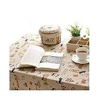 XiuZP 長方形のテーブルクロス - 漫画の黒い子猫要素の綿とリネンのテーブルクロスコーヒーテーブルクロス (Color : A, Size : 35.4*35.4in)