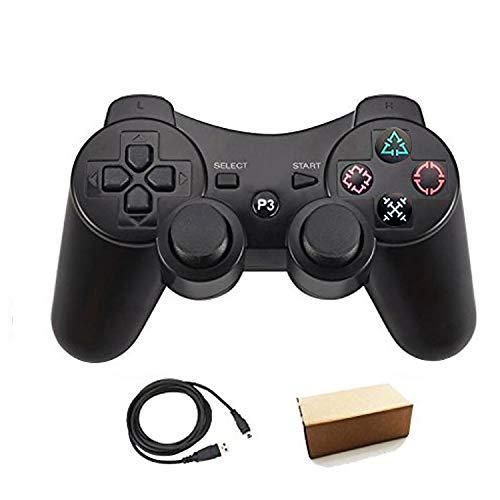 Pueleo PS3用 ワイヤレス デュアルショック3 ワイヤレスコントローラー互換 日本語説明書 USB ケーブル付属(黒)