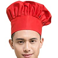 Chef Hat Adult Adjustable Elastic Baker Kitchen Cooking Chef Cap, Red