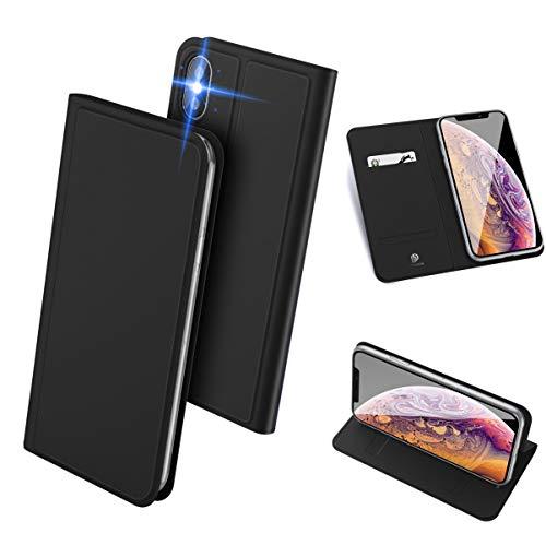 iPhone XS Max ケース 手帳型 スマホケース 高級PU レザー 超薄型 軽量 耐衝撃 ワイヤレス充電対応 アイフォン XS マックス カバー カード収納 スタンド機能 マグネット付き 人気 (ブラック)