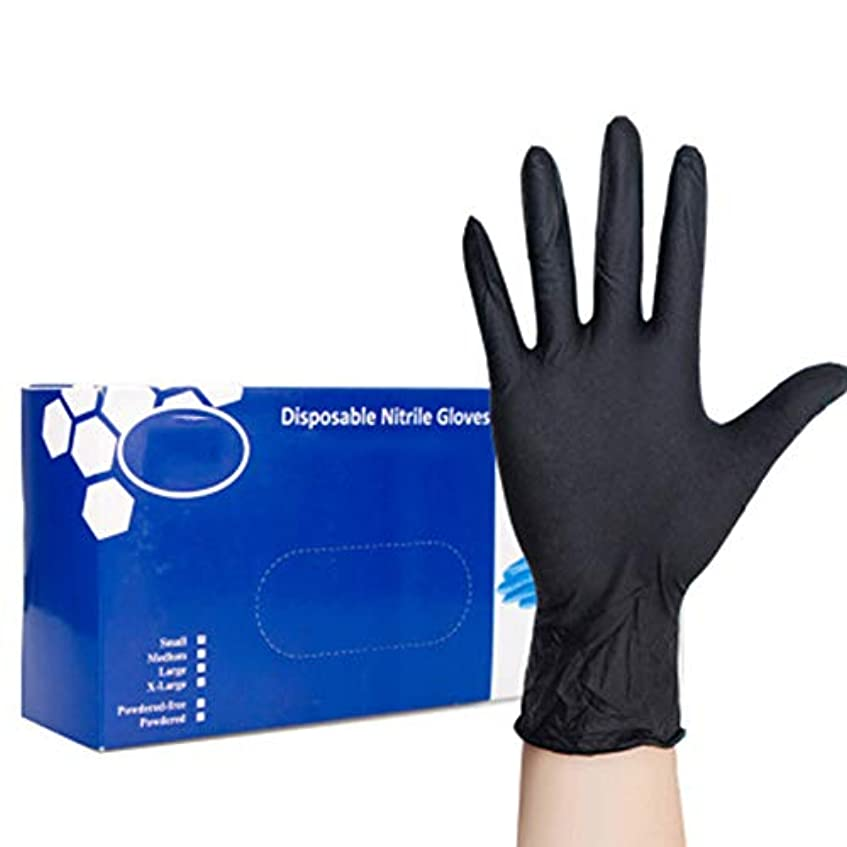 消化器ひそかにそんなに使い捨てニトリル手袋 滑りにくい 超弾性 多用途 黒 耐摩耗性および耐汚染性の美容サロングローブ(1箱100個)