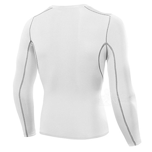 LeoSport 男性 機能性 腹筋 脂肪燃焼 着圧スポーツ姿勢補助 吸汗速乾 長袖 加圧Tシャツ (XXL, ホワイト)