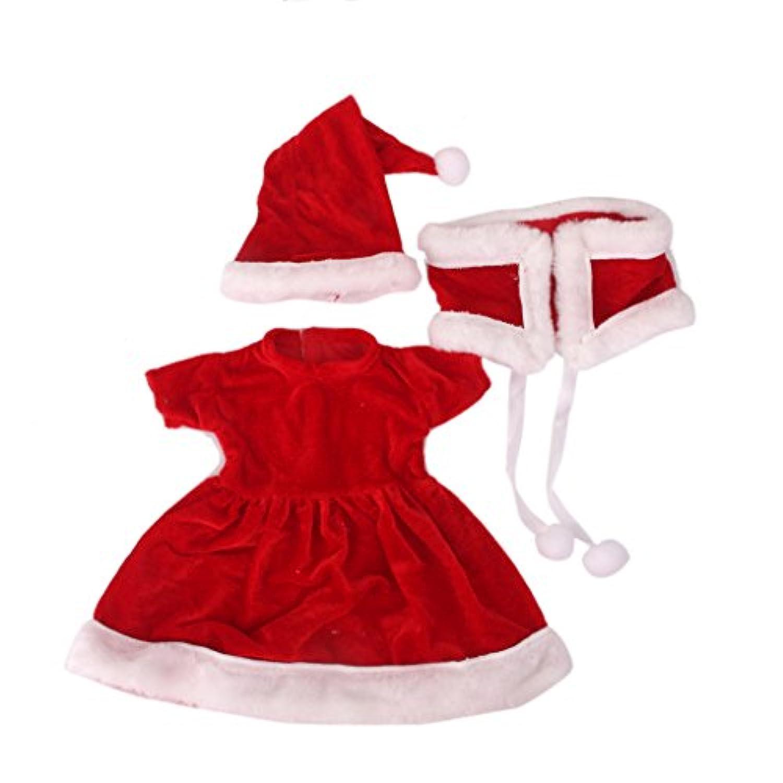 【ノーブランド品】ドール用  洋服 人形用  服 18インチ アメリカンガール サンタドレス セット クリスマス