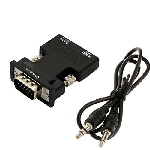 NYUTASE HDMI TO VGA変換アダプタ d-sub 15ピン HD1080P HDMI VGA アダプタ 音声 ビデオ 同期出力 電源不要 VGA 変換 コネクタ HDMI メス VGA オス 3.5mm オーディオケーブル付 hdmi 変換 vga adapter WIN 10~7/Vista/XP及びMac OS対応