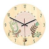 クリエイティブウォールクロックなめらかなミニマリストラウンド漫画時計リビングルームの寝室なし枠飾り時計