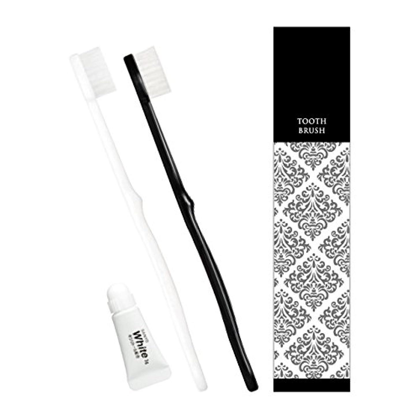 矢じりケニアホストピエンタ ホテル業務用ハブラシ 28穴 3gチューブ付 黒250本 白250本