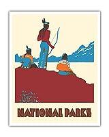 国立公園 - ネイティブアメリカン - ビンテージな世界旅行のポスター によって作成された ドロシー・ワー c.1935 - アートポスター - 41cm x 51cm