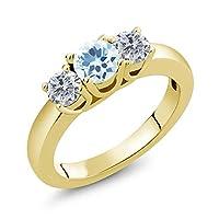 Gem Stone King 1.00カラット 天然 スカイブルートパーズ 天然 ダイヤモンド シルバー925 イエローゴールドコーティング 指輪 リング