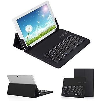 【Ewin】9.7~10.1インチ タブレットキーボードケース キーボード分離可能 Bluetooth 3.0四段階調整可能 スタンド機能付きブルートゥースキーボード カバー keyboard case for 9.7-10.1 inch tablet PC iOS Android Windows兼用【ブラック】