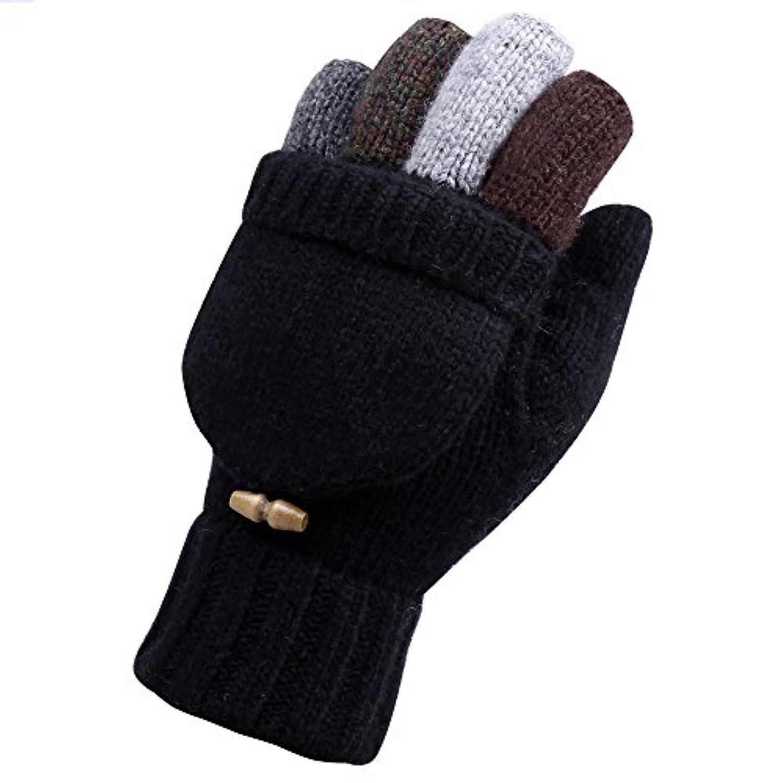 WARMENメンズウールニットConvertible冬指なし運転手袋ミトンwith Fold Backポケット