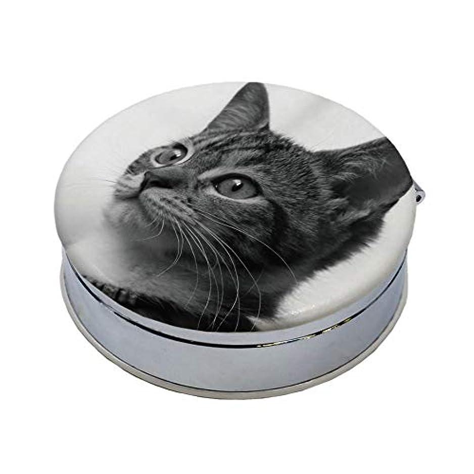 超える闇明確なmitas アクセサリーケース 小物入れ 丸型 アニマル vol.1 ネコ ねこ 猫 6 白黒 (957) PRACA-5108-A