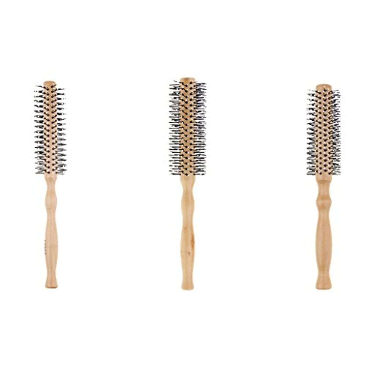 特性病的肌F Fityle 3本 木製櫛 ラウンドヘアブラシ ヘアケアブラシ 波状 カーリング