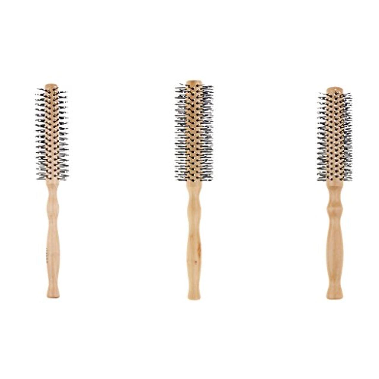 方法洗練堤防CUTICATE ヘアブラシ ラウンド ロールブラシ 巻き髪 木製櫛 3本