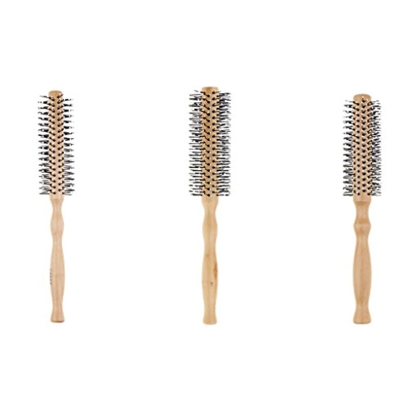 品揃え動員する処理ヘアブラシ ラウンド ロールブラシ 巻き髪 木製櫛 3本