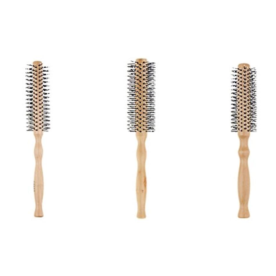 印象的な悪因子結晶CUTICATE ヘアブラシ ラウンド ロールブラシ 巻き髪 木製櫛 3本