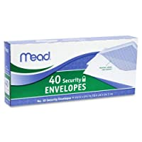 Wholesale CASE of 25–Meadホワイトセキュリティenvelopes-security封筒、10号、40/ PK、ホワイト