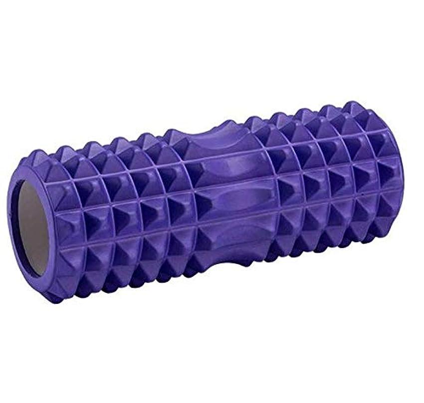 汚いぼろエンドテーブルフォームローラー、ヨガピラティスジムフィットネスアクセサリー用のディープティッシュマッスルマッサージEVA,Purple-33x14cm