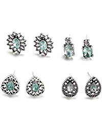 LALANG 4 pairs crystal Bohemia Style Earrings Ear Stud Women Lady Jewelry Gift