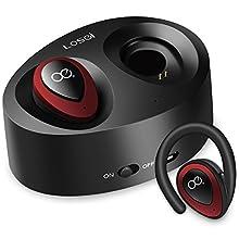 Bluetooth イヤホン Lermom Losei 片耳両耳 ワイヤレスヘッドホン V4.1 ヘッドセット大部分スマホ対応(赤)