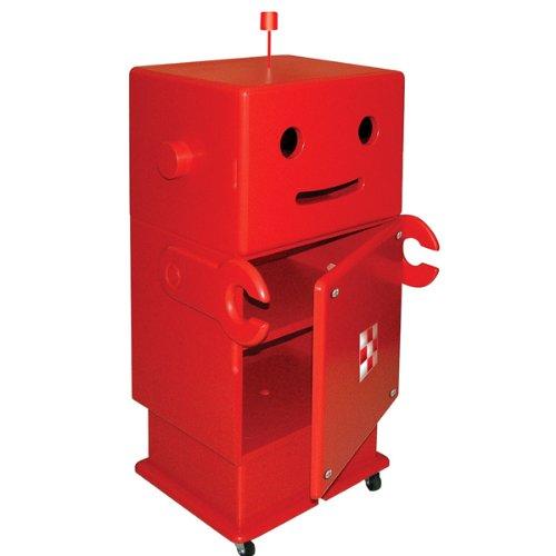 HERO 木製収納ロボ ロビット(Robit) レッド 収納家具/キャスター...