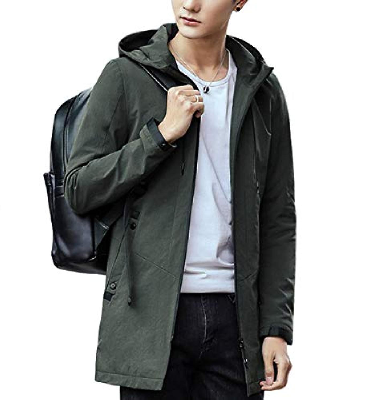 JHIJSC ジャケット メンズ 長袖 ロング シンプル 無地 薄手 フード付き 軽量 大きいサイズ