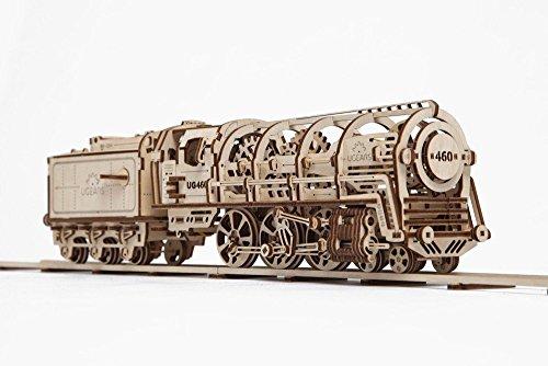 Ugears 機関車モデル 自分で組み立てて、ゴム動力で動く3Dパズル インテリアにも最適 [並行輸入品]