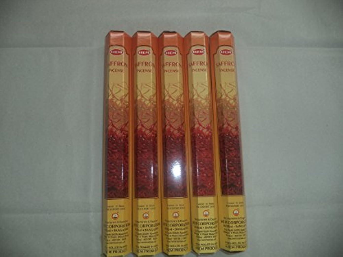 どんよりした近々前任者Hemサフラン100 Incense Sticks ( 5 x 20スティックパック)