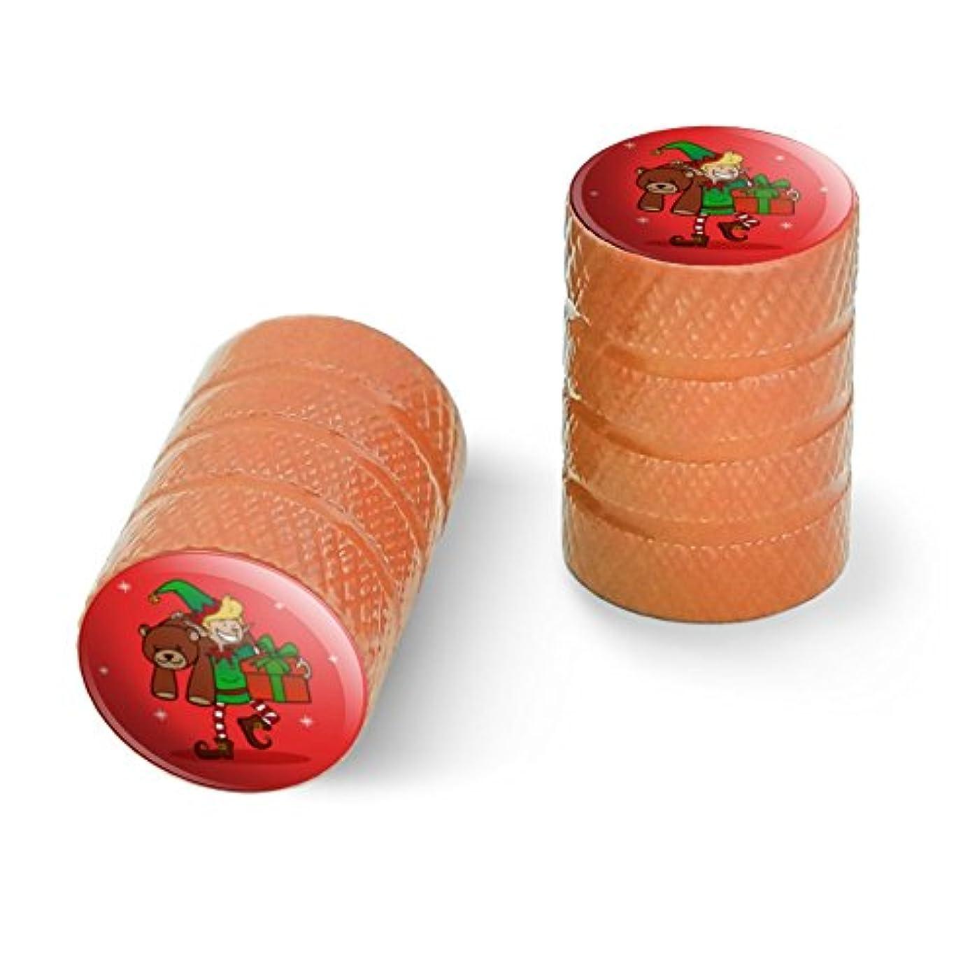 葉っぱ乳剤大西洋クリスマスエルフとプレゼントとギフトオートバイ自転車バイクタイヤリムホイールアルミバルブステムキャップ - オレンジ