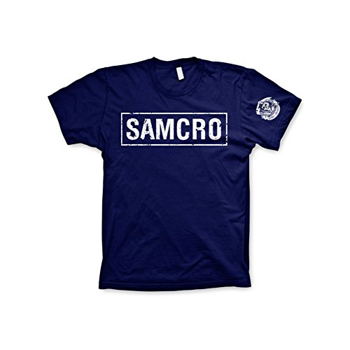 Officially Licensed Merchandise SAMCRO Distressed Mens T-Shirt (Navy), Large