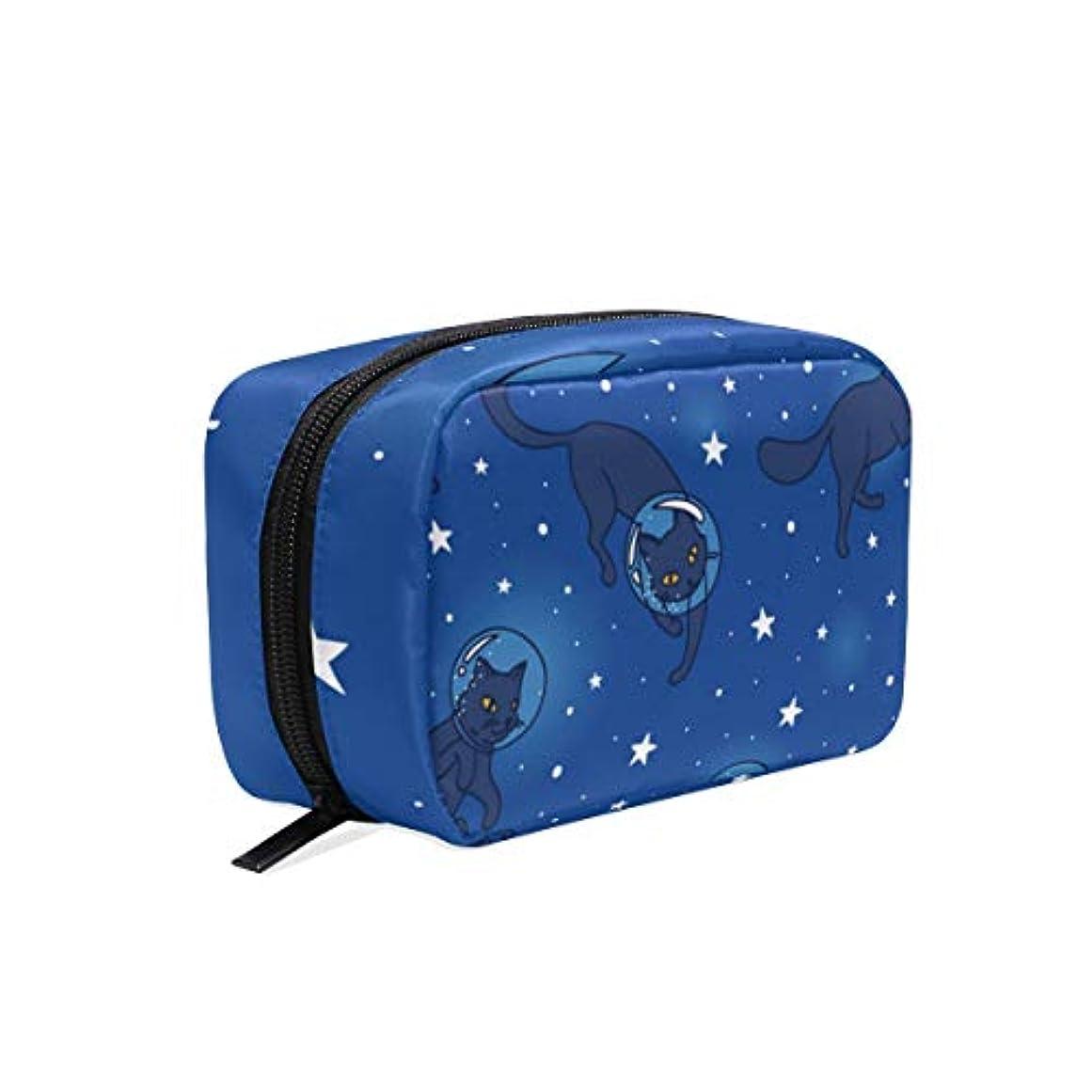 (VAWA) 化粧ポーチ 大容量 可愛い 宇宙 猫柄 星柄 メイクポーチ コンパクト 機能的 おしゃれ 持ち運び コスメ収納 仕切り ミニポーチ バニティーケース 洗面道具 携帯用