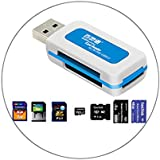 TAUWELL高品質SD カードリーダー メモリカードリーダー 多機能 TF/ SD/MS/M2カードスロット4in1 アダプタ480Mbps 高速伝送 Micro USB/USB接続 USB2.0 (カードスロット4in1)