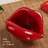 XSWY 6cm Ceramic Lips Ashtray Multi-function Figurines Creative Personality Crafts Ornaments Living Room Home Household Trend (Color : Deep Red)