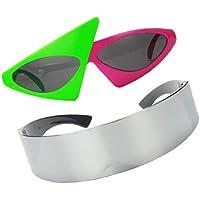 Lovoski Futuristic Sunglasses Cyberpunk Cyclops Mono Lens Wrap Visor & 80s Asymmetrical Rapper Glasses - Funny Party Sunglasses For Kids Adults