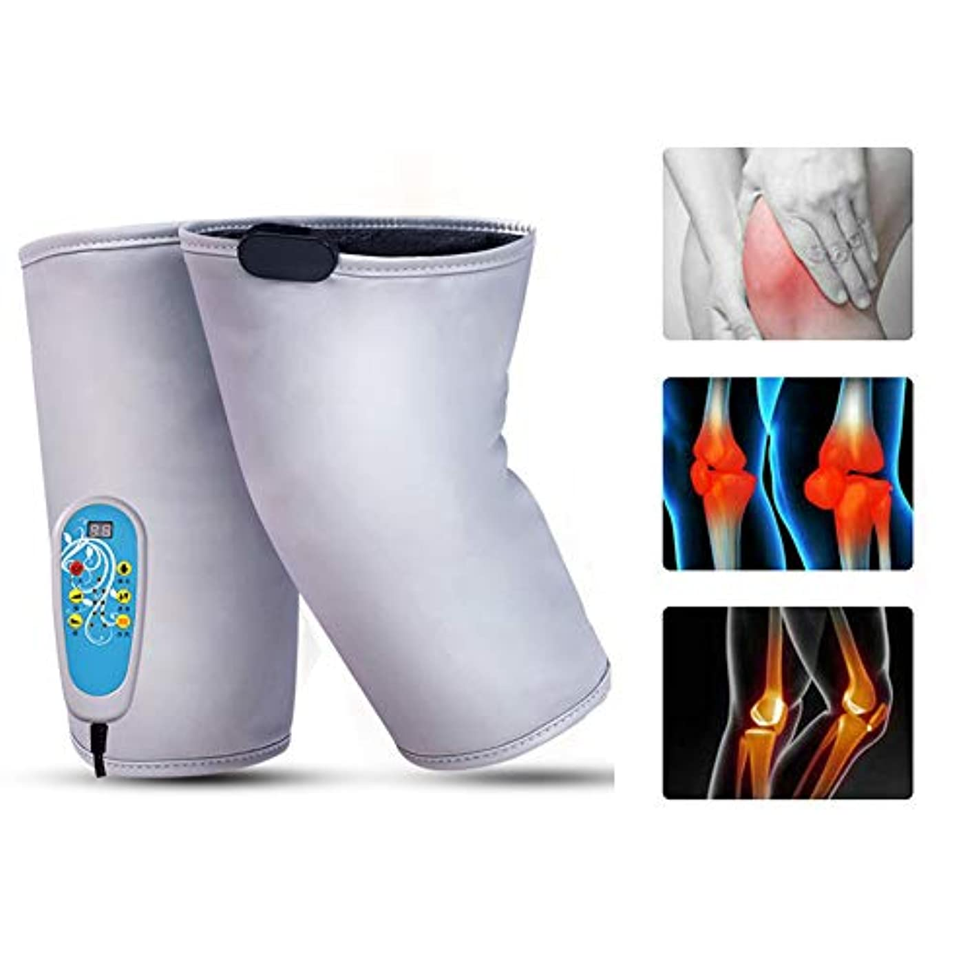 安全仲人資本主義暖房膝装具サポート1対加熱膝パッドウォームラップ - 膝のけが、痛みを軽減するための9マッサージモードのセラピーマッサージャー