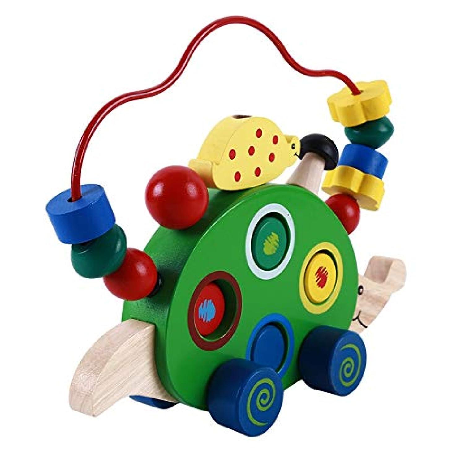 指定する便利たっぷりChirldren のおもちゃ木製ハリネズミプル車のビーズ子供の教育玩具木製ドラッグ動物おもちゃ