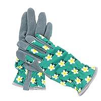 Hersent 園芸手袋 ガーデングローブ 牛革 短袖 柔軟 通気 耐摩耗 トゲ防止 作業用手袋 (L)