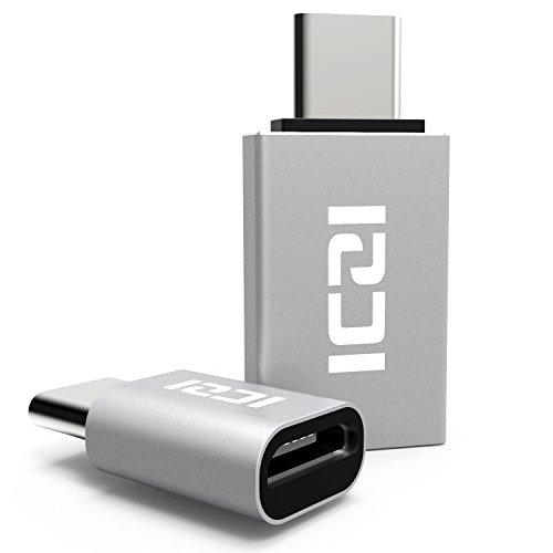 ICZI【2個セット】USB Type Cアダプタ Micro USB(メス) to Type-Cアダプタ&USB3.0 USB(メス) to Type-Cアダプタ 変換コネクタ USBケーブル 新しいMacBook / LG G5 / HTC 10に対応 裏表関係なく挿せる 高速転送可能 (シルバー)