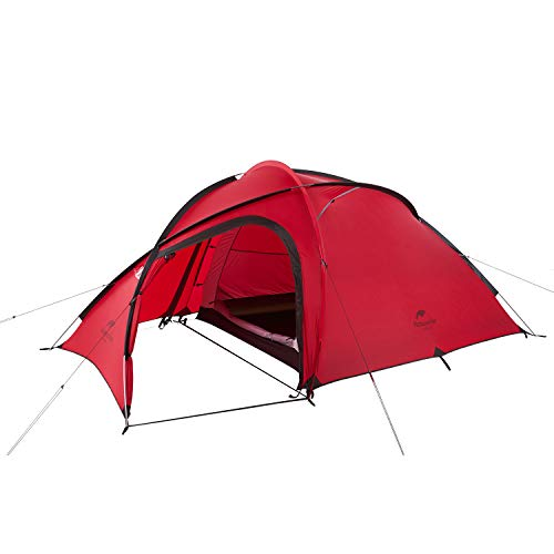 Naturehike公式ショップ テント 自立式 2-3人用 2ルーム 超軽量 広い前室 タープスペース付き 二重層構造 アウトドア キャンプ 登山 防雨 防風 防災(専用グランドシート付) (レッド(アップグレード))