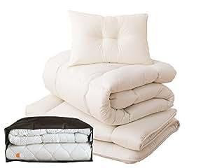 エムール 軽量布団4点セット 「ロココ」 シングルセット 収納ケース付 綿100% 防ダニ 抗菌 防臭 日本製