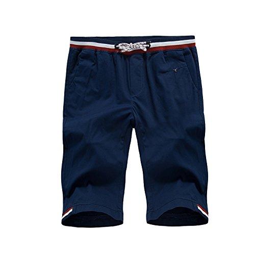 6分丈 ファッション ハーフパンツ メンズ ショートパンツミディアムパンツ 短パン男性パンツ(36,ゴム-紺色)