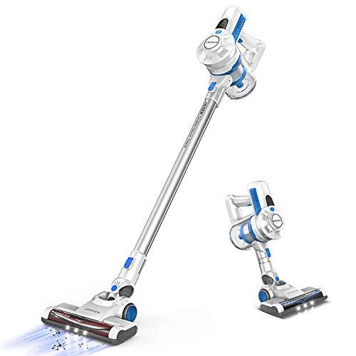 掃除機 コードレス サイクロン 強吸引力 スティッククリーナー LEDライト付 超軽量1.13KG 充電式 長時間 壁掛け 40分間長時間稼動 PSE認証済 ブルー