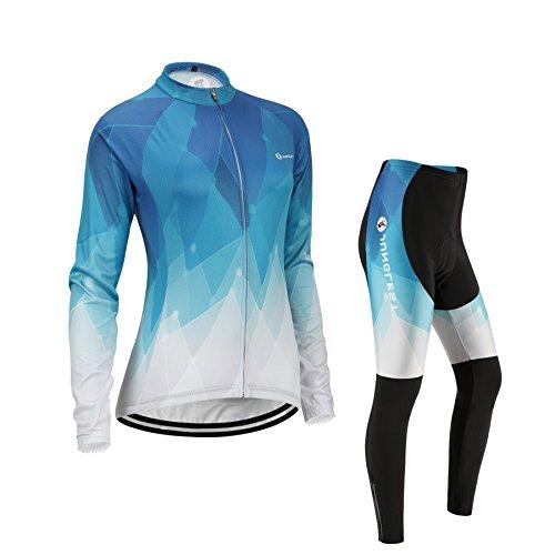 JUNGLEST 通気性肌触り感良い 長袖 サイクルジャージ 上下セット 3D極厚パッド 女性用 自転車ウェア サイクルウェア L