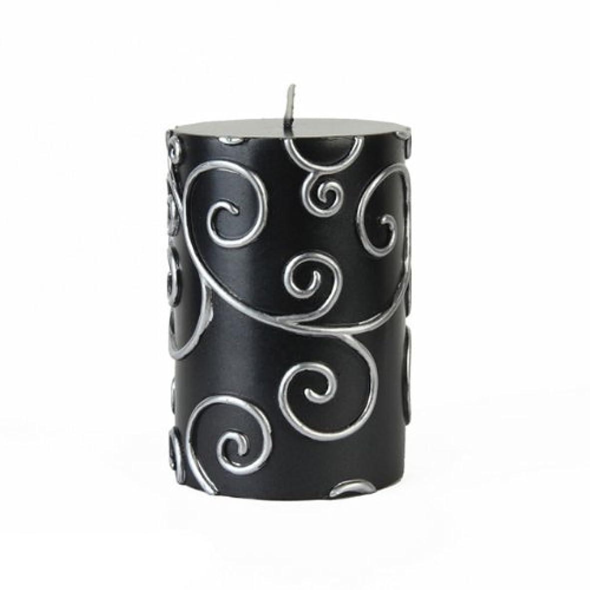 みすぼらしい時間抜本的なZest Candle CPS-001_12 12-Piece Scroll Pillar Candle, 3' x 4', Black [並行輸入品]
