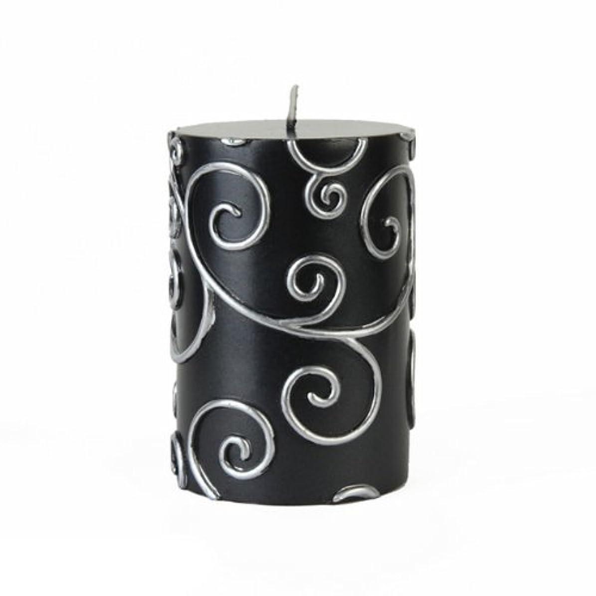 夜明け繰り返す熱心Zest Candle CPS-001_12 12-Piece Scroll Pillar Candle, 3' x 4', Black [並行輸入品]